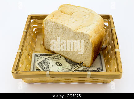 5 and 1 dollar notes with half a loaf of white bread in basket isolated on white - Stock Photo