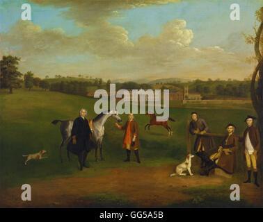 Arthur Devis - Leak Okeover, Rev. John Allen and Captain Chester at Okeover Hall, Staffordshire - Stock Photo