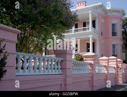 Early American residence on Meeting St, facing the water.  Charleston, South Carolina. - Stock Photo
