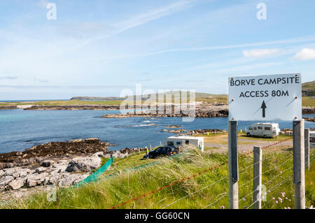 Borve Campsite on the island of Barra in the Outer Hebrides, Scotland. - Stock Photo