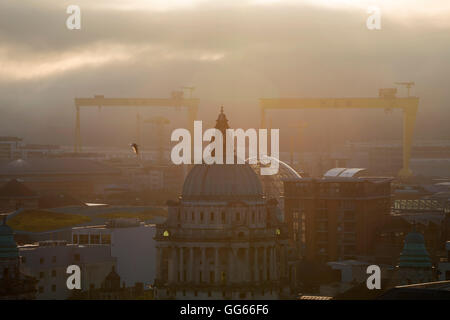 Belfast city view with Harland and Wolff cranes - Stock Photo