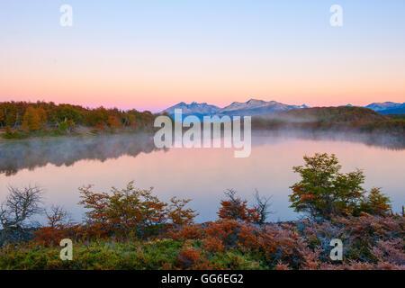 Lake in autumn, Patagonia, Argentina, South America - Stock Photo