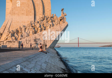 Sunset on the Padrao dos Descobrimentos (Monument to the Discoveries) by the Tagus River, Belem, Lisbon, Portugal, - Stock Photo