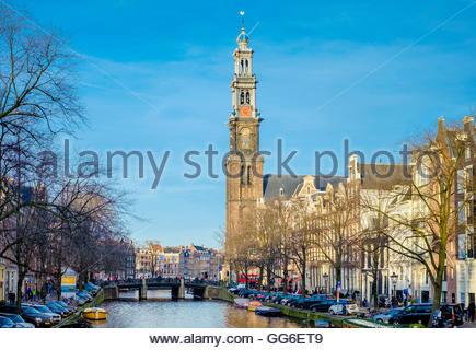 Westerkerk church and Prinsengracht canal, Amsterdam, North Holland, Netherlands, Europe - Stock Photo