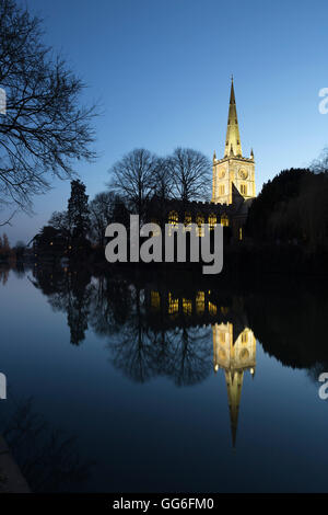 Holy Trinity Church on the River Avon at dusk, Stratford-upon-Avon, Warwickshire, England, United Kingdom, Europe - Stock Photo