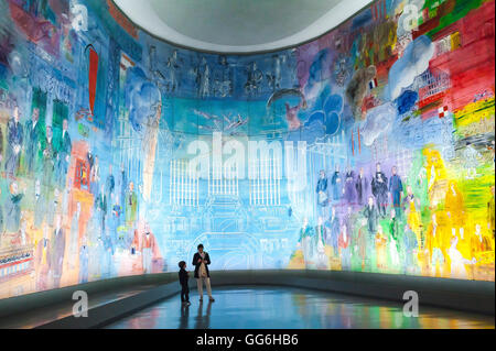 Paris art museum, a giant illuminated mural of Raoul Duffy's 'La Fee Electricite' in the Musee d'Art Moderne de - Stock Photo