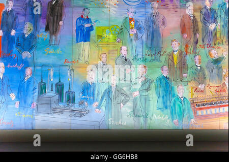 A giant illuminated mural of Raoul Duffy's 'La Fee Electricite' in the Musee d'Art Moderne de la Ville de Paris - Stock Photo