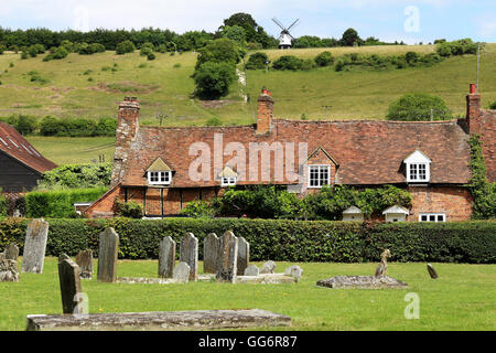 An English Summer Landscape from the churchyard in Turville Village in the Chiltern Hills - Stock Photo