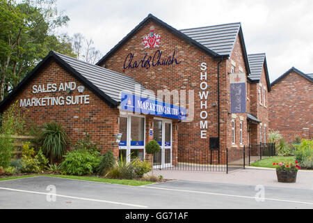 Marketing suite for new houses being built in Chorley, Lancashire, UK - Stock Photo