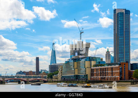 London cityscape including Blackfriars Railway Bridge, Tate Modern, The Shard, Sea Container House, OXO Tower and - Stock Photo
