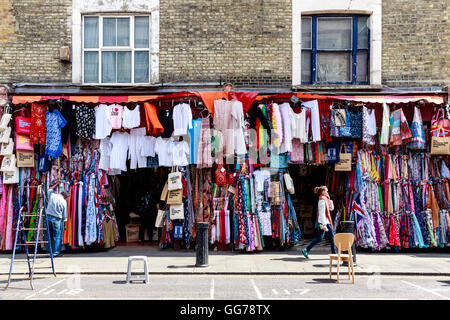 London, UK - July 13, 2016 - Clothes Shop on Portobello Road in Notting Hill - Stock Photo