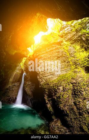 Kozjak waterfall in Slovenia - Stock Photo