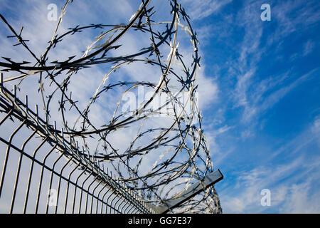 Barbed wire fence with blue skies and clouds in the background - Stock Photo