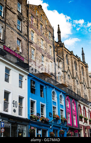 View of colourful shops on historic Victoria Street in the Old Town of Edinburgh , Scotland, United Kingdom - Stock Photo