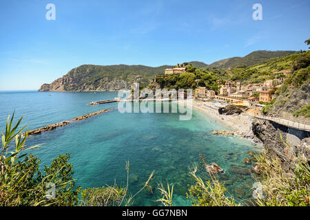 Cinque Terre: View to the beach of Monterosso al Mare in early summer, Liguria Italy Europe - Stock Photo
