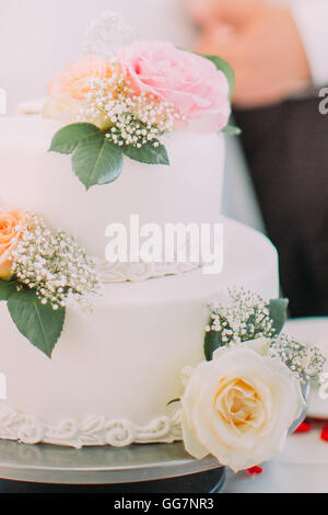 Close-up of delicious white wedding cake decorated with pink roses - Stock Photo