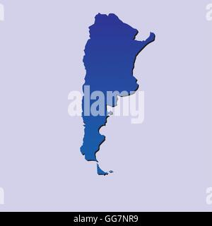 an isolated blue map of argentina on a light blue background - Stock Photo