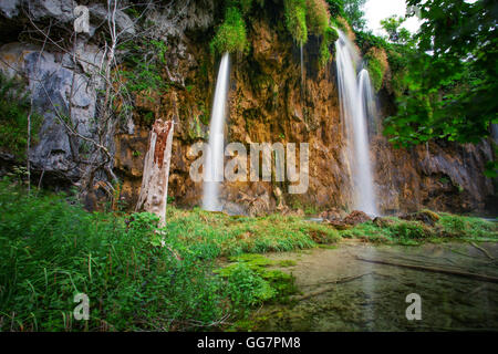 Waterfalls of Plitvice National Park in Croatia - Stock Photo