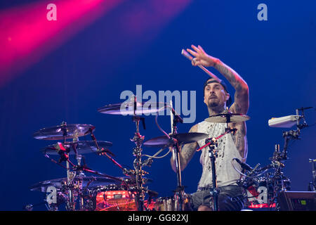 Travis Barker, drummer for Blink-182, performs at Gexa Energy Pavilion Friday, July 29, 2016. - Stock Photo