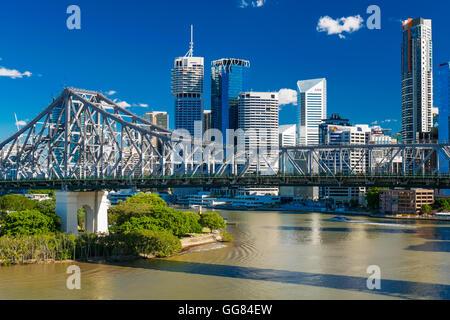 BRISBANE, AUS - JUN 7 2016: Panoramic view of Brisbane Skyline with Story Bridge and the river. It is Australias - Stock Photo