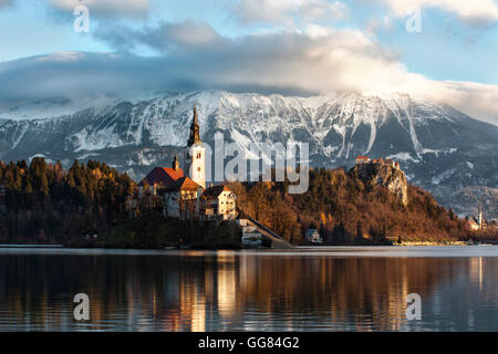 Bled Lake Sunrise - Stock Photo