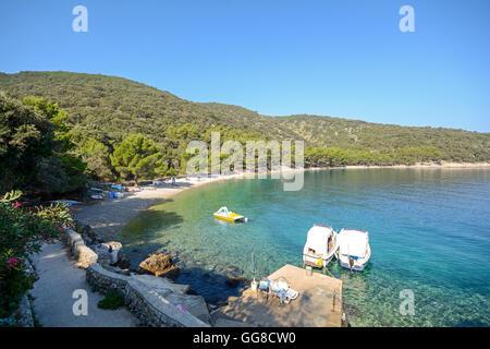 Cres Island: View to beach near Valun village, Istrian coast on the Adriatic sea, Croatia Europe - Stock Photo