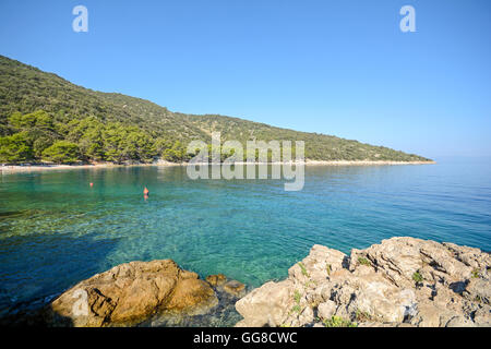 Cres Island: Beach near Valun village, Istrian coast on the Adriatic sea, Croatia Europe - Stock Photo