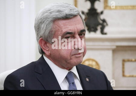 Moscow, Russia. 10th Aug, 2016. Armenia's president Serzh Sargsyan, during a meeting with the president of Russia - Stock Photo