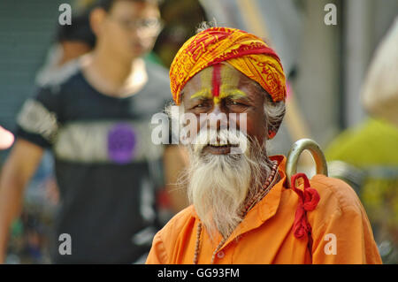 KATHMANDU,NP CIRCA AUGUST 2012 - Sadhu portrait circa August 2012 in Kathmandu.In Hinduism, a sādhu (Sanskrit sādhu, - Stock Photo