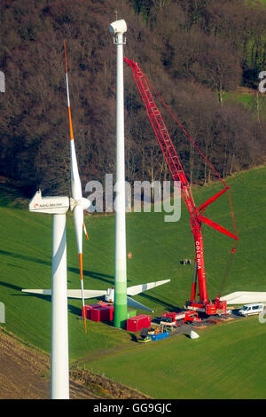 Aerial view, construction and installation of a wind turbine, wind turbines on the Bremberg, Langenberg, Velbert, - Stock Photo
