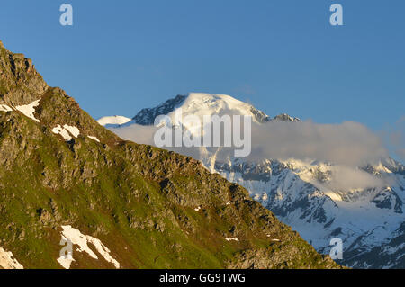 View of the Grand Combin from Cabane Mont Fort on the Haute Route, Val de Bagnes, Switzerland - Stock Photo