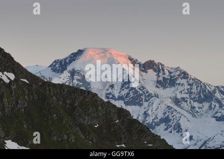 View of the Grand Combin Massif from the Haute Route, Val de Bagnes, Switzerland - Stock Photo