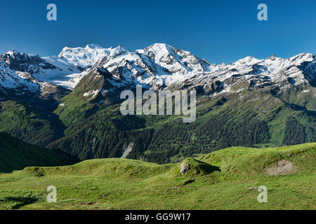 View of the Grand Combin Massif from Cabane Mont Fort on the Haute Route, Val de Bagnes, Switzerland - Stock Photo