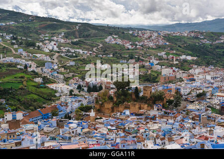 View over Chefchaouen, Morocco - Stock Photo