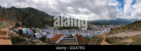 Panormaic view over Chefchaouen, Morocco - Stock Photo