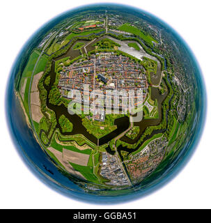 Aerial view, Bastion Oud Molen, Naarden VESTING, fisheye, Fortress of Naarden with townhouse and Church,Great Church - Stock Photo