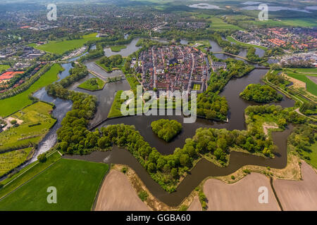 Aerial view, Bastion Oud Molen, Naarden VESTING, Fortress of Naarden with townhouse and Church, Great Church or - Stock Photo