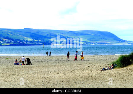 Barmouth, North Wales, UK. July 23, 2016. Barmouth beach looking across the Mawddach estuary on a overcast day in - Stock Photo