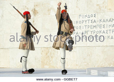 geography / travel, Greece, Evzone soldiers performing change of guard, Athens, Europe, Additional-Rights-Clearance - Stock Photo