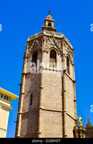 a view of the Micalet, the bell tower of the Cathedral of Valencia, in Valencia, Spain - Stock Photo