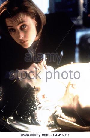 AKTE X - DIE UNHEIMLICHEN FÄLLE DES FBI / Sporen (The X-Files) USA 1999 / Fox Mulder und Dana Scully finden bei - Stock Photo