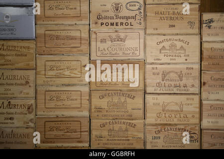 New York Wine boxes of wood - Stock Photo