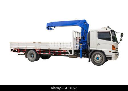 Boom Truck Crane isolated on white background - Stock Photo