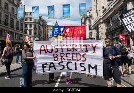 Austerity Breeds Fascism, No More Austerity - No To Racism - Tories Must Go, demonstration organised by Peoples - Stock Photo