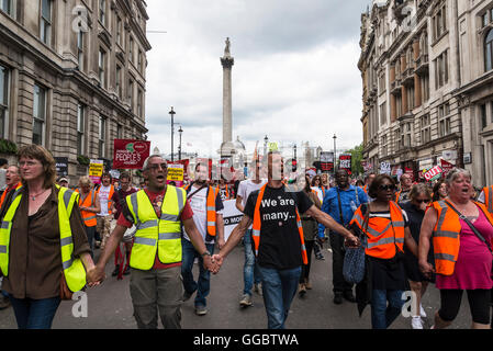 No More Austerity - No To Racism - Tories Must Go, demonstration organised by Peoples Assembly, Saturday July 16th - Stock Photo