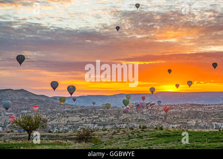 geography / travel, Turkey, Middle East, Cappadocia, balloons over tuff rock formations, Additional-Rights-Clearance - Stock Photo
