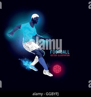 Neon glowing backlit silhouette of a football player - vector illustration - Stock Photo