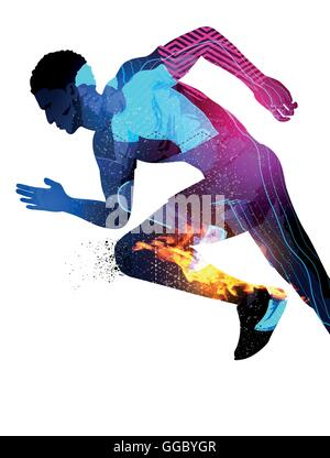 Double exposure effect vector illustration of a running sports man with texture effects. - Stock Photo