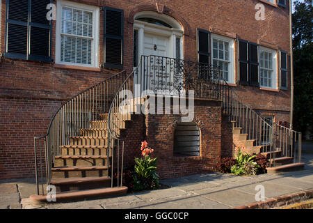 1820s Davenport House is a Federal-style home built by master carpenter Isiah Davenport, in Savannah, Georgia. - Stock Photo