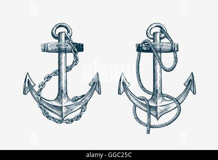 Vector hand drawn nautical anchor. Vintage sketch element ship, travel - Stock Photo